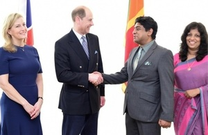 The Earl and Countess of Wessex arrive in Sri Lanka and are welcomed by Sri Lankan State Minister of Foreign Affairs Wasantha Senanayake and Mrs. Senanayake