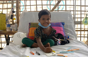 Six-year-old Sumaiya, pictured recovering in hospital in Bangladesh after being treated for diphtheria by the UK's Emergency Medical Team