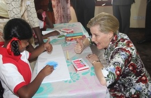 Her Royal Highness The Countess of Wessex with a student from the Mentally Handicapped Children and Families Project
