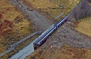Aerial image of the landslip and derailed train
