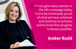 Minister for Women and Equalities Amber Rudd marks the centenary of women's suffrage