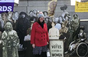 Keela Shackell-Smith in Trafalgar Square celebrating women's suffrage centenary