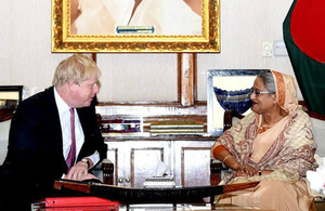 Foreign Secretary meets Bangladesh Prime Minister and Foreign Minister to discuss the Rohingya, the Commonwealth and trade. Photo credit: Subrata Gosh