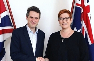 Defence Secretary Gavin Williamson meeting his counterpart, Minister for Defence, Marise Payne, in Sydney.