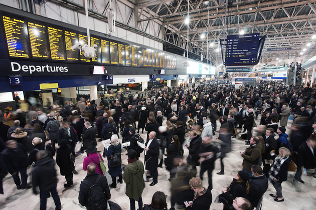 Busy railway station in London.