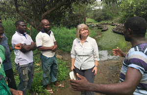 Minister for Africa Harriett Baldwin at Lake Ossa wildlife reserve in Edea-Cameroon
