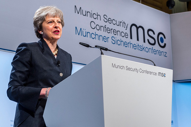 PM Theresa May speaking at the 2018 Munich Security Conference