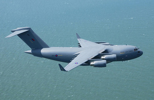 An RAF C17 transport aircraft pictured in transit.