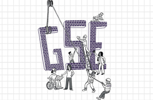 Illustration of scientists building the word GSE (detail from report front cover).