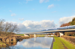 Artist's impression of the HS2 rail line.