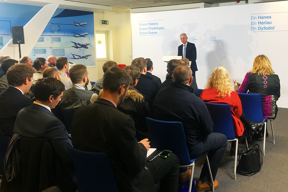 David Lidington giving speech at Airbus
