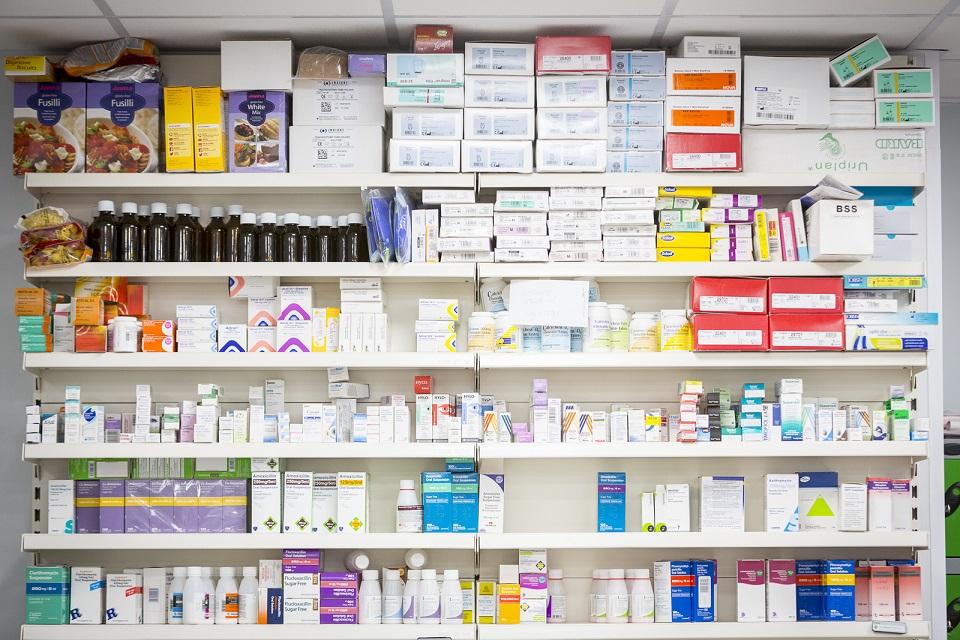 Prescription medication on pharmacy shelves