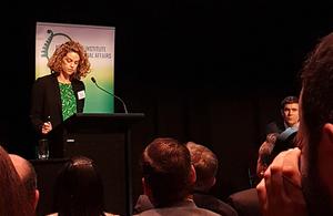Laura Clarke presenting her speech at the NZIIA