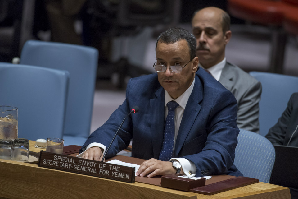 Ismail Ould Cheikh Ahmed, the Secretary General's Special Envoy for Yemen, briefs the Security Council in October 2017. (UN Photo)