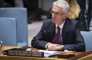 Mark Lowcock, Under-Secretary-General for Humanitarian Affairs and Emergency Relief Coordinator, briefs the Security Council on the situation in Syria. (UN Photo)