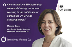 Melanie Dawes pic and quote on International Women's Day2