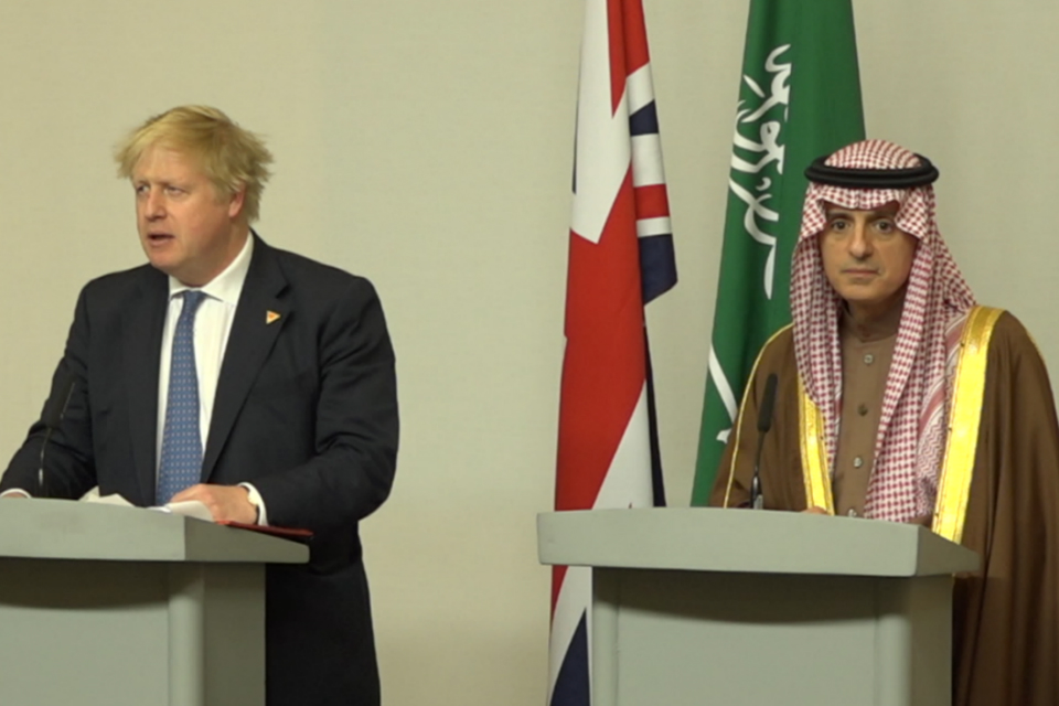 Foreign Secretary Boris Johnson and Saudi Arabian Foreign Minister Adel al-Jubeir
