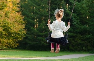 Girl on swings in playground