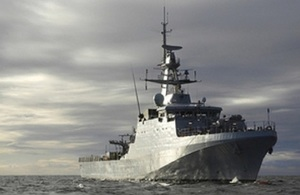 Pictured is HMS Trent on the Ocean.