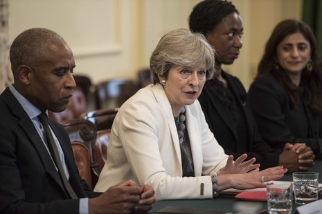 Prime Minister Theresa May at the Race Disparity Audit roundtable discussion