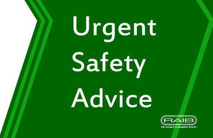Urgent safety advice issued relating to safety of the line after engineering work