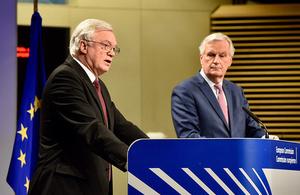 David Davis and Michel Barnier during speech