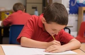 11 year old boy taking test