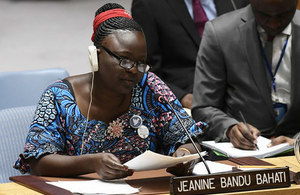 Jeanine Bandu Bahati, Coordinator of Encadrement des Femmes Indigènes et des Ménages Vulnérables (EFIM), a human rights organization based in the Democratic Republic of the Congo, briefs the Security Council on the situation in the country. (UN Photo)