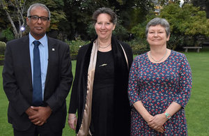 Khaled Awad, Head of FONDEF programme, CONICYT; Fiona Clouder, Her Majesty's Ambassador, and Jacqui Williams, Head of RCUK Newton Fund.