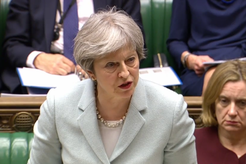 Prime Minister Theresa May speaking in the House of Commons following the March European Council