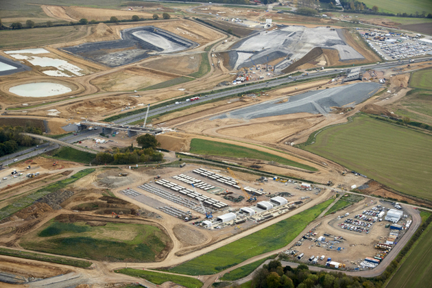 Aerial view of the A14 Cambridge to Huntingdon