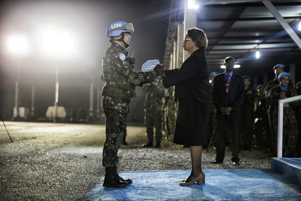 MINUSTAH peacekeepers hold a ceremony to mark the termination of their operations and the beginning of their withdrawal from Haiti, ahead of MINUSTAH's closing on 15 October 2017. (UN Photo/Logan Abassi)