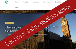 Telephone scam site