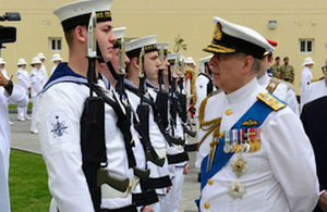Prince Andrew Duke of York meets UK personnel at the opening of the United Kingdom Naval Support Facility at Mina Salman port in Bahrain today. Crown copyright