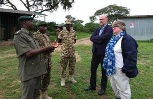 UK Environment Minister Thérèse Coffey with HE Peter West and Murchison Falls National Park officials.