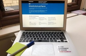 The Ethnicity facts and figures website on a laptop