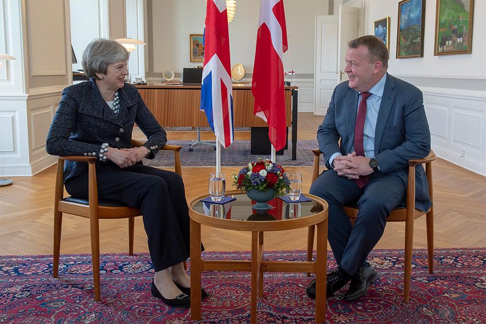 Theresa May meets Danish PM Lars Løkke Rasmussen in Copenhagen