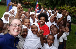 HE Sarah Cooke in a selfie with school girls from Unubini and Tandale Primary Schools