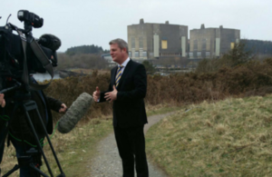 Stuart Andrew speaks to the media at Trawsfynydd power station