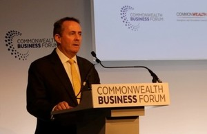 Picture of Liam Fox at Commonwealth Business Forum