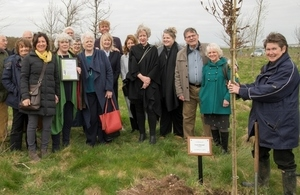 Frank Blewett's family and colleagues at the copse