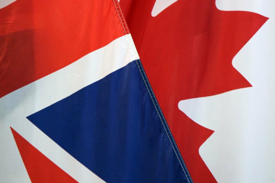 UK Canada flag connected