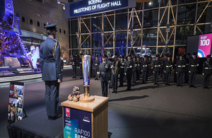 Officer Commanding 617 Sqn, Wing Commander John Butcher, requests permission to reform the Squadron at a ceremony in the Smithsonian Museum in Washington