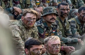Members of the 1st Batallion The Royal Anglian Regiment, along with their Indian counterparts, being briefed before undertaking a joint exercise in Exercise Ajeya Warrior 2017. Crown copyright.