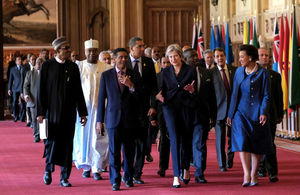 Commonwealth Heads of Government walking in Windsor Castle