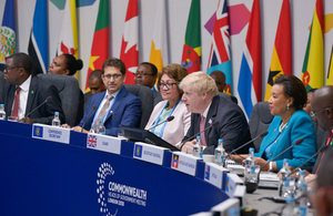 Foreign Secretary Boris Johnson speaking at a foreign ministers meeting during the Commonwealth Heads of Government Meeting