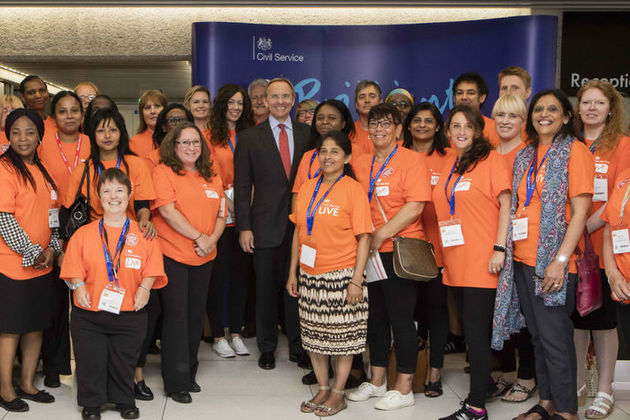 John Manzoni and volunteers at Civil Service Live in London 2017