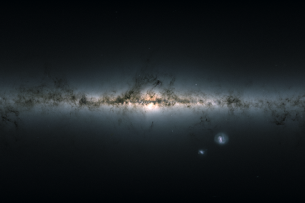 Credit: ESA/Gaia/DPAC Gaia's all-sky view of our Milky Way Galaxy and neighbouring galaxies, based on measurements of nearly 1.7 billion stars.