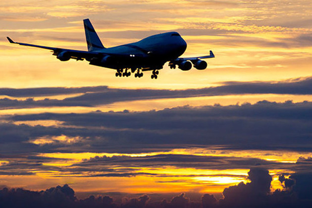 Passenger airplane landing at sunset.