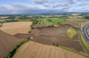The £6.2m flood reservoir at Catterick will help protect 150 homes and the A1(M) from flooding